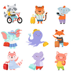 cute cartoon animals set raccoon tiger coala vector image