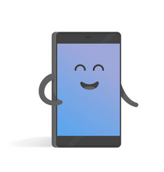 Cute cartoon character phone with hands eyes and vector