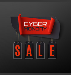 Cyber monday sale abstract banner on black vector