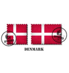 denmark or danish flag pattern postage stamp vector image