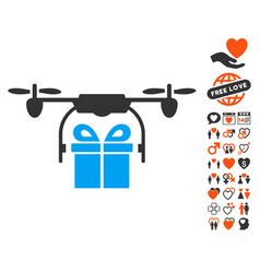 Drone gift delivery icon with dating bonus vector