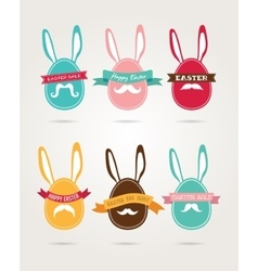 Easter vintage hipster eggs and rabbits vector image