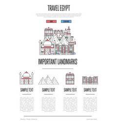 egypt travel infographics in linear style vector image