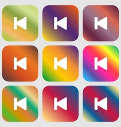 Fast backward icon Nine buttons with bright vector