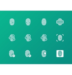 Finger authorization icons on green background vector