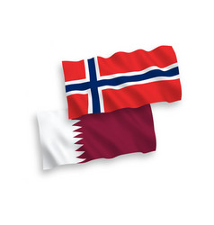 Flags norway and qatar on a white background vector