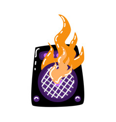 flat burning loudspeaker icon vector image