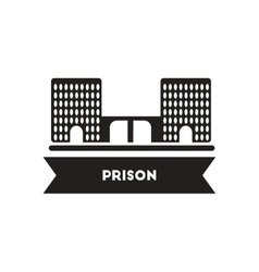 flat icon in black and white style building prison vector image vector image