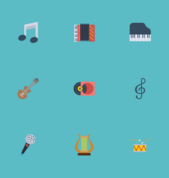 flat icons tambourine quaver acoustic and other vector image