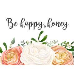 Floral design card peach pink white garden rose vector