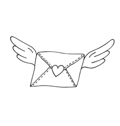 Flying envelope with wings and heart vector image