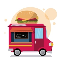 Hamburger truck fast food icon graphic vector