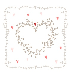 hand drawn set heart shaped wreath heart vector image