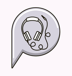hearphones music sound isolated vector image