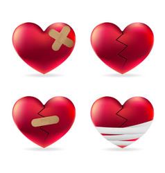 heart injury with adhesive elastic medical plaster vector image