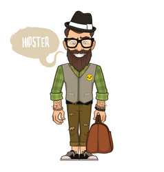 hipster in a hat and glasses vector image