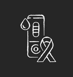 Hiv test chalk white icon on black background vector