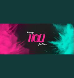 holi powder paints empty banner template border vector image