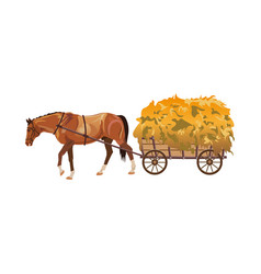 Horse with cart full of hay vector