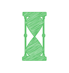 Hourglass sign green scribble icon vector