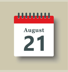 Icon day date 21 august template calendar page vector