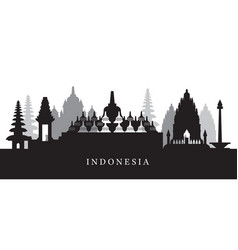 indonesia landmarks skyline in black and white vector image