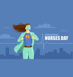 International nurses day superhero nurse vector