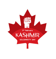 Kashmir solidarity day with red maple leaf vector