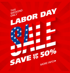 labor day sale advertising banner design vector image