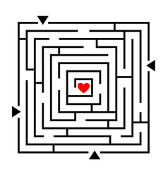 labyrinth to heart puzzle vector image