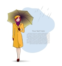 Lady with umbrella on autumn background vector image