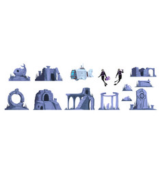 Lost atlantis isolated icons set vector