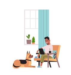 man freelancer using laptop working at home during vector image