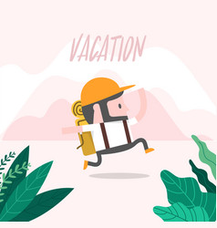 man running to vacation vector image