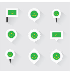 Mauritania flag and pins for infographic and map vector