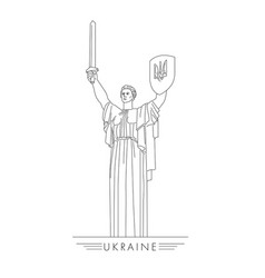 Motherland statue in kyiv ukraine line vector