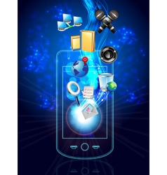 Multimedia phone and icons vector