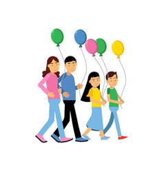 parents and their two kids walking with colorful vector image