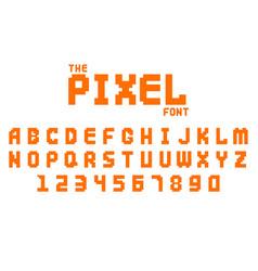 pixel retro font video computer game design 8 bit vector image
