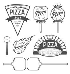 Pizza labels badges and design elements Vintage vector image