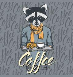 Raccoon with croissant and coffee vector