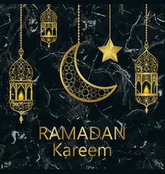 ramadan kareem gold and black marble template vector image