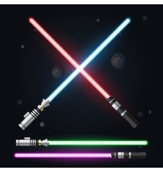 Red blue green and purple light swords vector