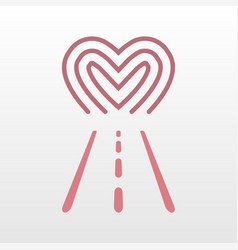 Road way to heart logo icon vector
