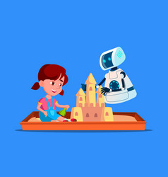 Robot builds a sand castle with little child on vector