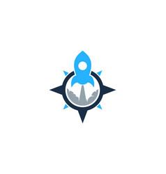 rocket compass logo icon design vector image