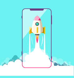 rocket launch with smartphone symbol vector image