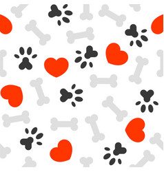seamless pattern i love dog theme bone and foot vector image