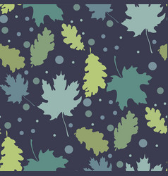 Seamless pattern with autumn leaves silhouettes vector