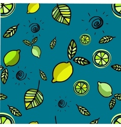 Seamless pattern with lemons on blue vector image